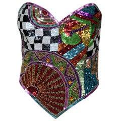 Ella Singh Multicolor Sequined & Beaded Corset Top