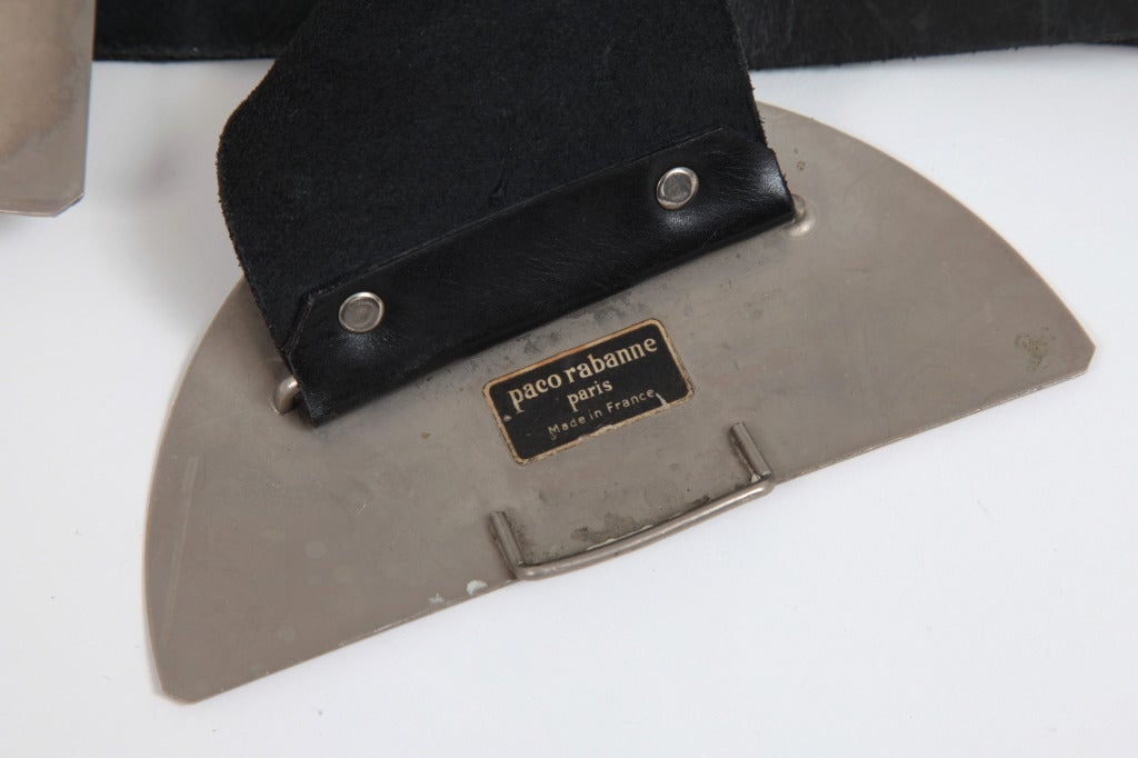 Gray Paco Rabanne Leather Belt with Sculptural Metal Buckle For Sale