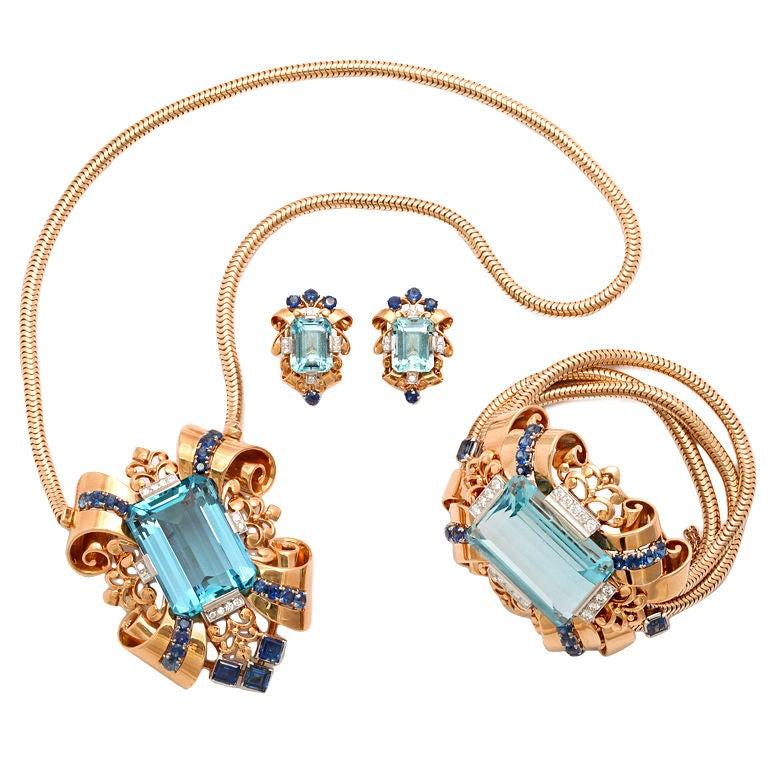 Tiffany magnificent retro santa maria aquamarine parure at for Santa maria jewelry company
