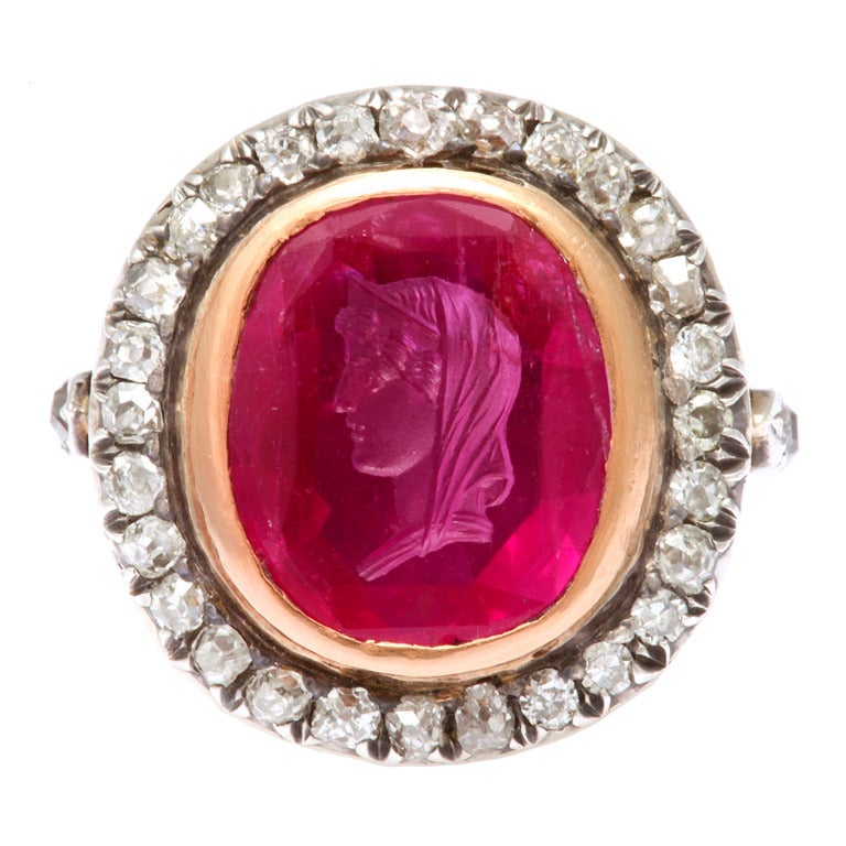 Antique Ruby Cameo Of Roman Lady Diamond Ring At 1stdibs