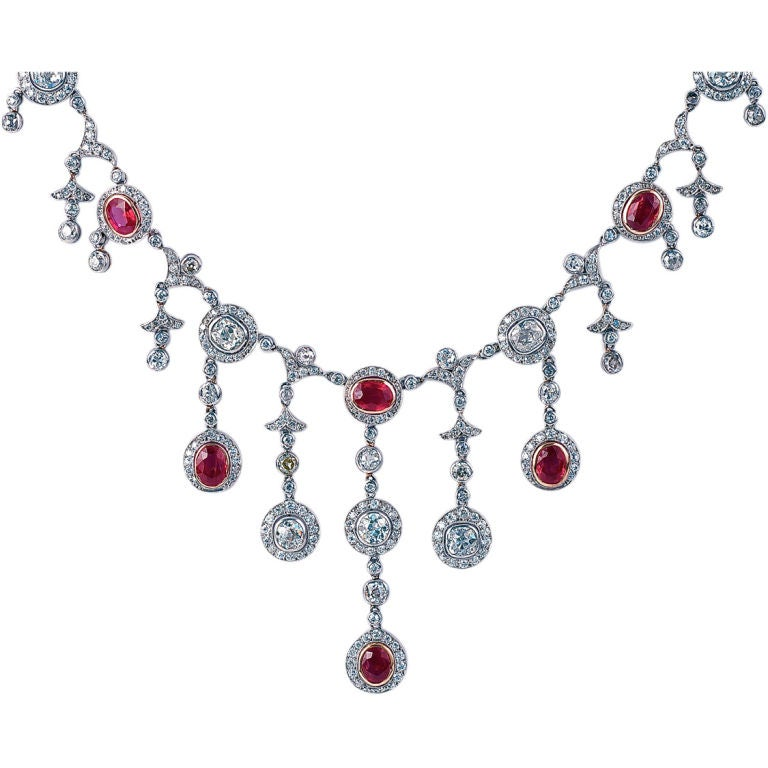 Edwardian Burma Ruby And Diamond Fringe Necklace At 1stdibs