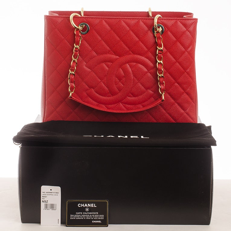 Chanel Red Quilted Caviar Grand Shopper Tote (GST) Bag with Gold Hardware image 10