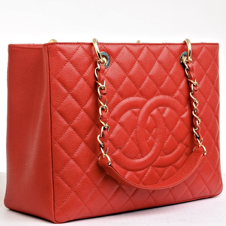 Chanel Red Quilted Caviar Grand Shopper Tote (GST) Bag with Gold Hardware image 2