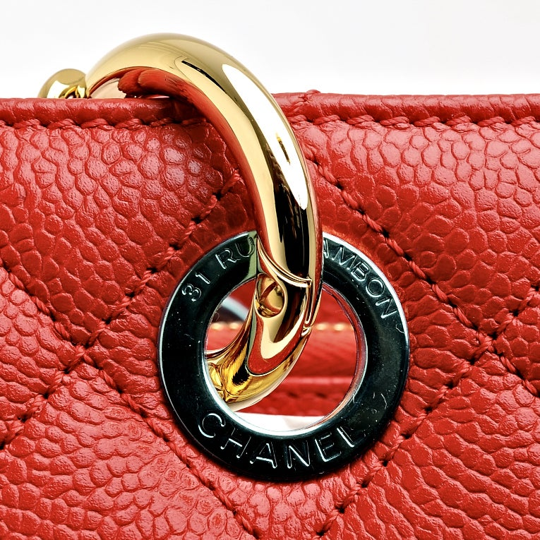 Chanel Red Quilted Caviar Grand Shopper Tote (GST) Bag with Gold Hardware image 8