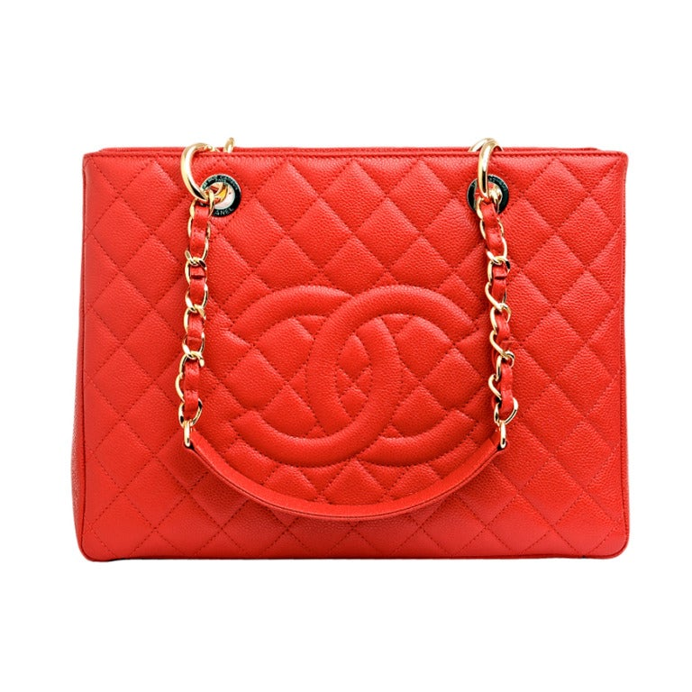 Chanel Red Quilted Caviar Grand Shopper Tote (GST) Bag with Gold Hardware