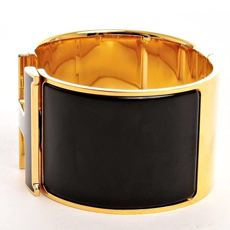 hermes clic clac h black on black extra large enamel bracelet gm gold hardware never carried. Black Bedroom Furniture Sets. Home Design Ideas
