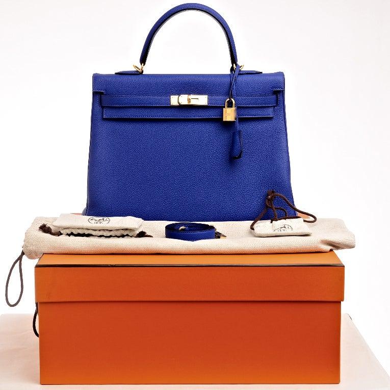 hermes birkin bag 35cm blue electric togo gold hardware