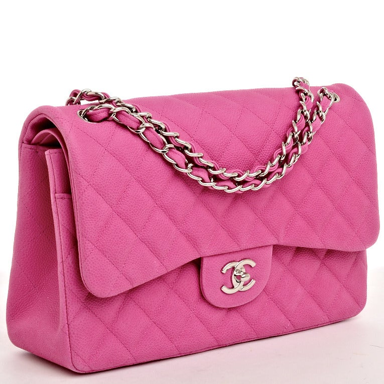 Chanel Hot Pink Quilted Matte Iridescent Caviar Leather Jumbo Classic 2 55 Double Flap Bag With Silvertone