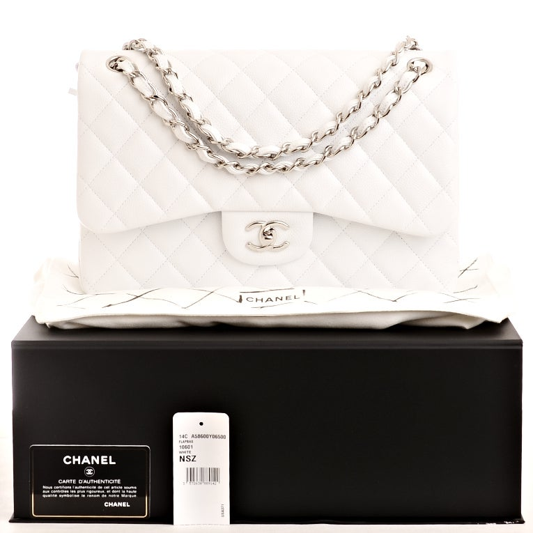 Chanel White Quilted Caviar Jumbo Classic 2.55 Double Flap Bag For Sale 6