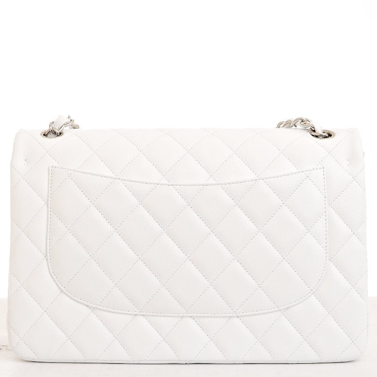 Women's Chanel White Quilted Caviar Jumbo Classic 2.55 Double Flap Bag For Sale
