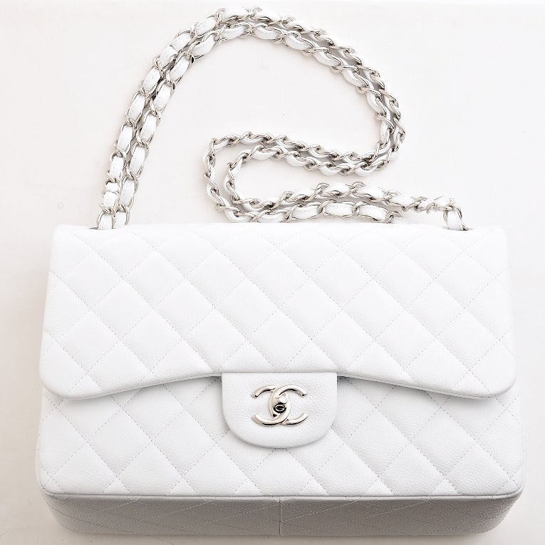 Chanel White Quilted Caviar Jumbo Classic 2.55 Double Flap Bag For Sale 3