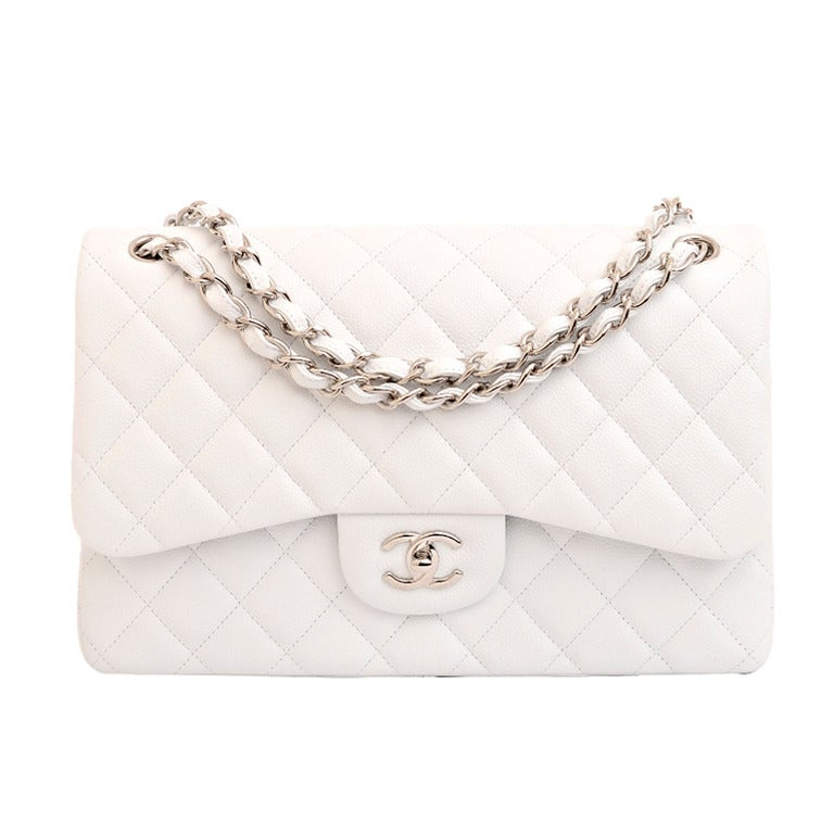 Chanel White Quilted Caviar Jumbo Classic 2.55 Double Flap Bag For Sale
