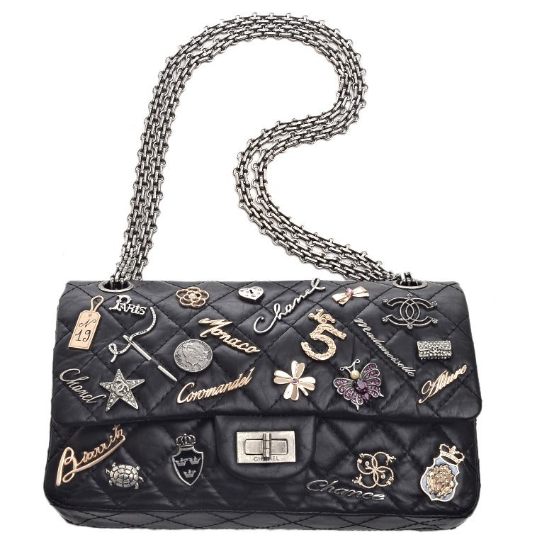 Chanel Rare Black Quilted Lucky Charms 2 55 Reissue 225