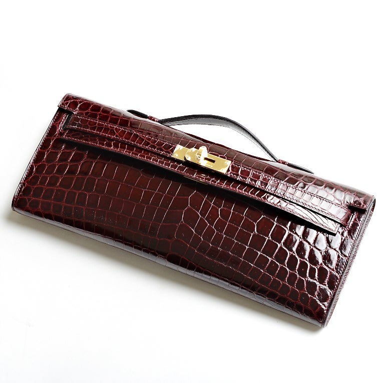 different styles of hermes bags - Hermes Bordeaux Shiny Niloticus Crocodile Kelly Cut with Gold ...