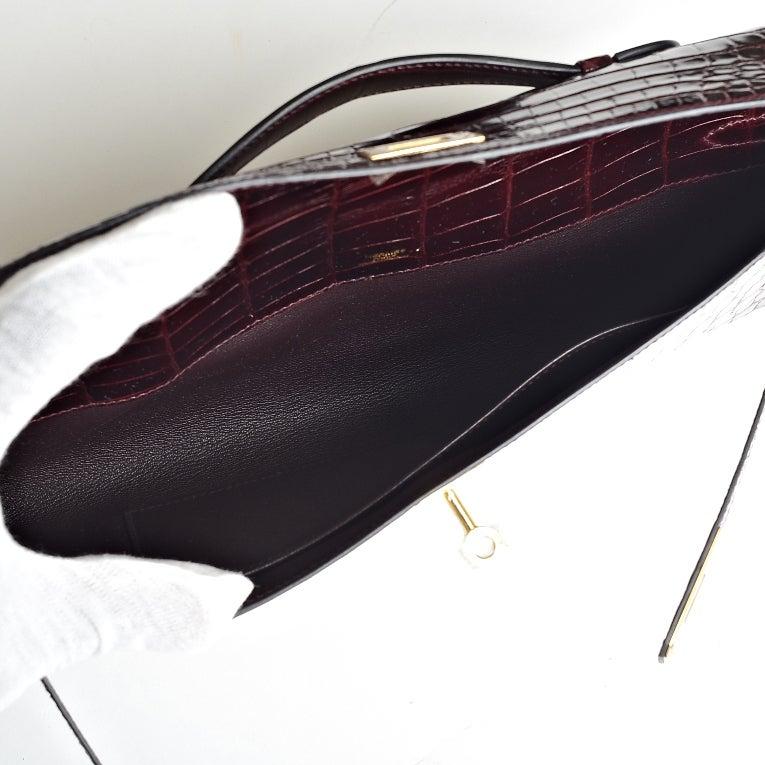 Hermes Kelly Cut Clutch Bordeaux Shiny Niloticus Crocodile