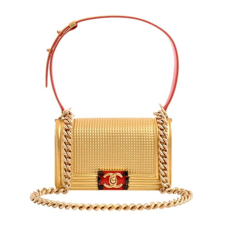 Chanel Metallic Gold Embossed Cube Boy Flap Bag At 1stdibs