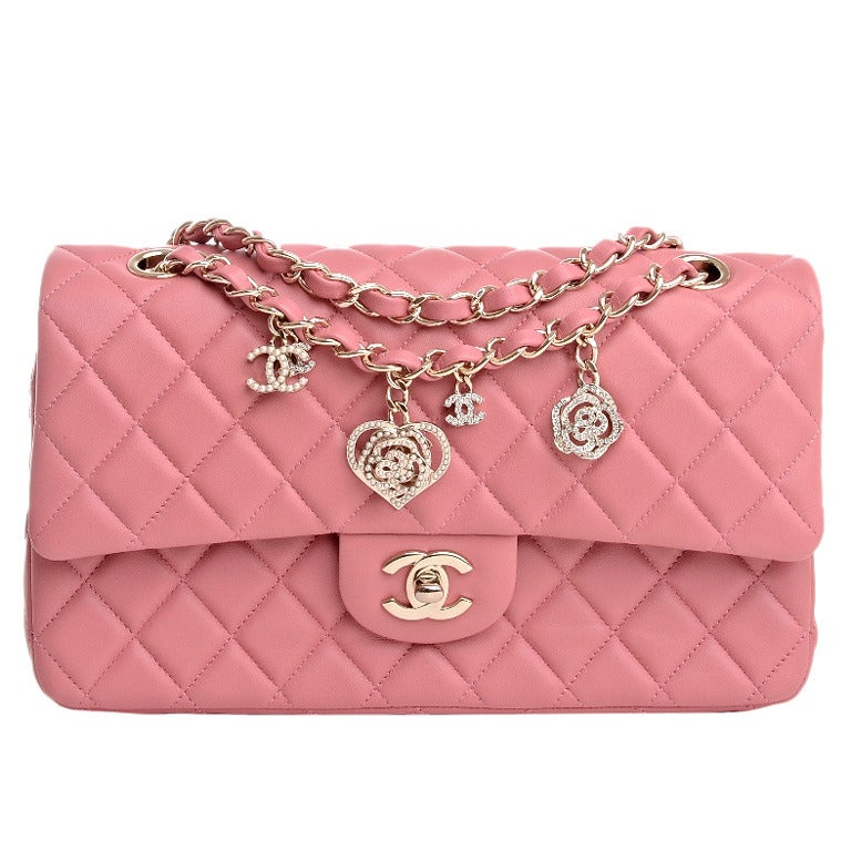 Chanel Limited Edition Pink Quilted Valentine Charm Flap