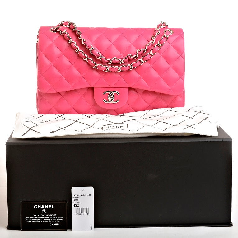 Chanel Fuchsia Pink Quilted Lambskin Jumbo Classic 2.55 Double Flap Bag image 10