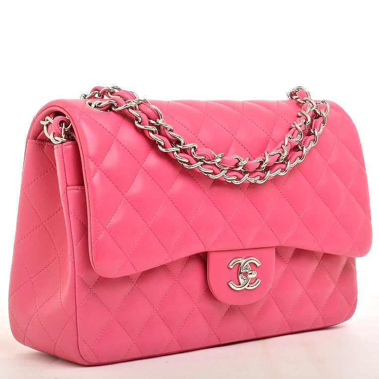 Chanel Fuchsia Pink Quilted Lambskin Jumbo Classic 2.55 Double Flap Bag image 2