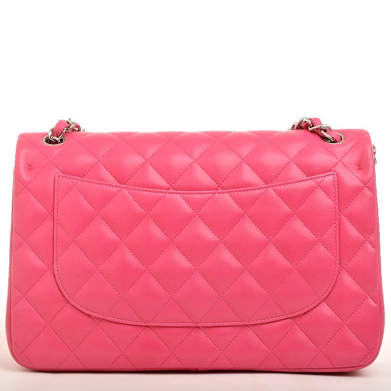 Chanel Fuchsia Pink Quilted Lambskin Jumbo Classic 2.55 Double Flap Bag image 4