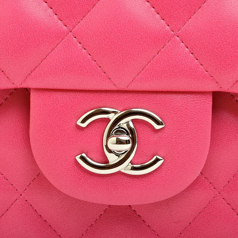 Chanel Fuchsia Pink Quilted Lambskin Jumbo Classic 2.55 Double Flap Bag image 6