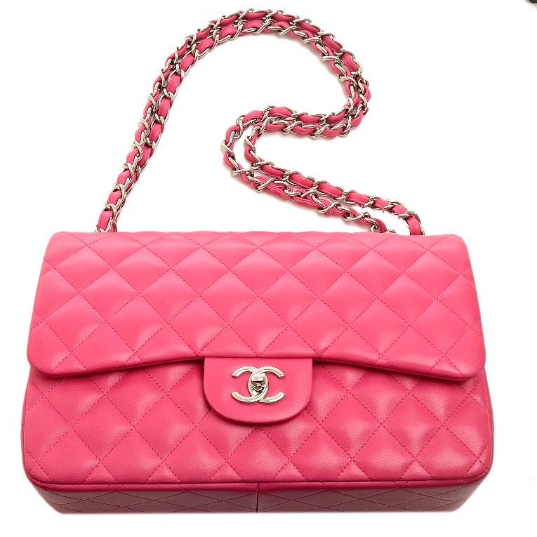 Chanel Fuchsia Pink Quilted Lambskin Jumbo Classic 2.55 Double Flap Bag image 7