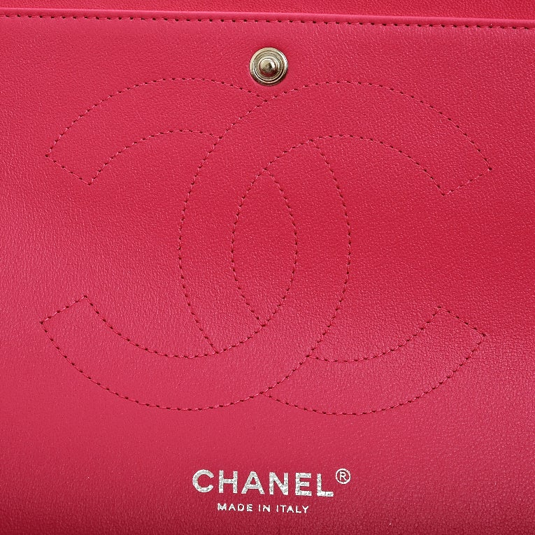 Chanel Fuchsia Pink Quilted Lambskin Jumbo Classic 2.55 Double Flap Bag image 8