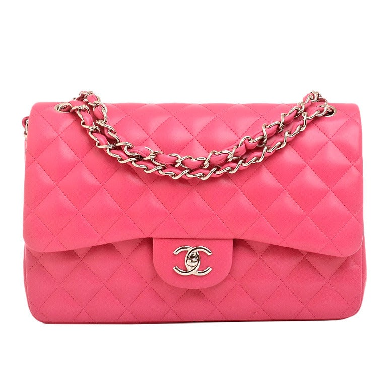 Chanel Fuchsia Pink Quilted Lambskin Jumbo Classic 2.55 Double Flap Bag