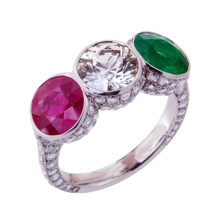 ruby emerald ring at 1stdibs