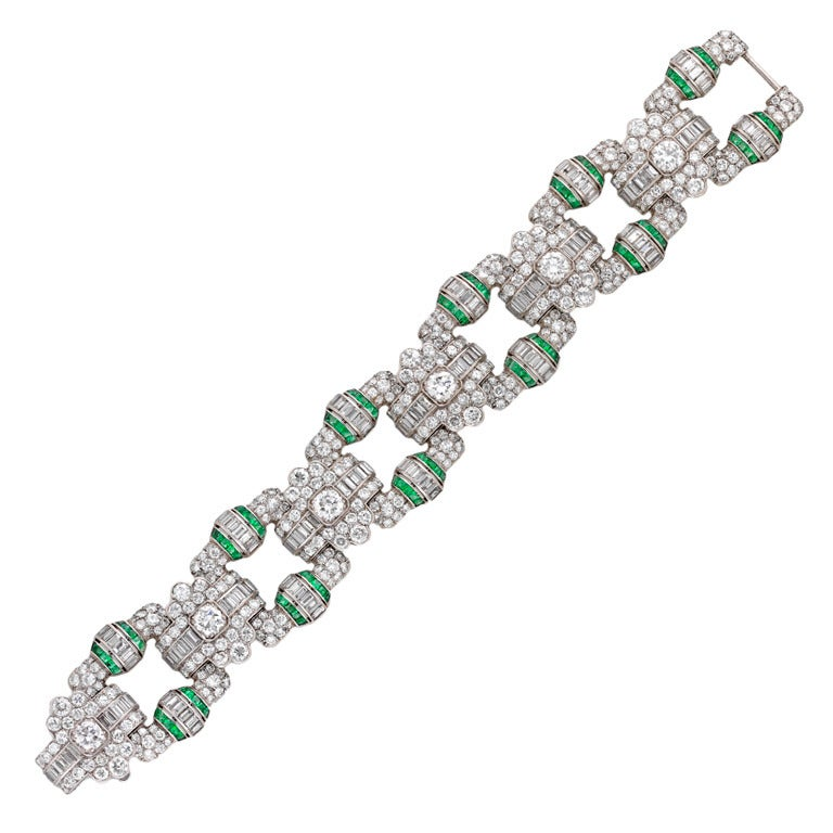 1930s Art Deco Emerald Diamond Platinum Geometric Panel Bracelet