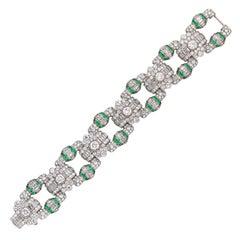 1930s Art Deco Emerald Diamond Platinum Geometric Panel Bracelet