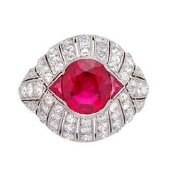 1930s Art Deco 3.88 Carat Mogok Burma Ruby Diamond Platinum Cocktail Ring