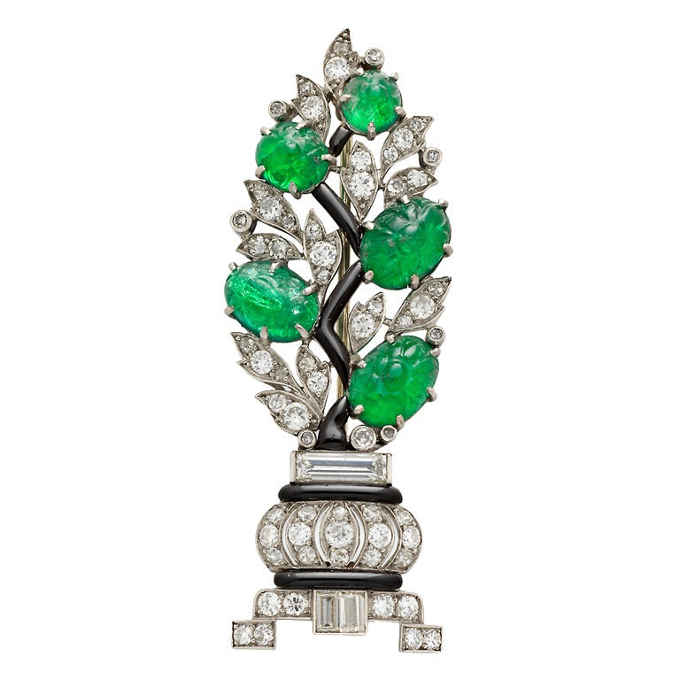 1920s French Art Deco Carved Emerald Diamond Platinum Bay Tree Brooch