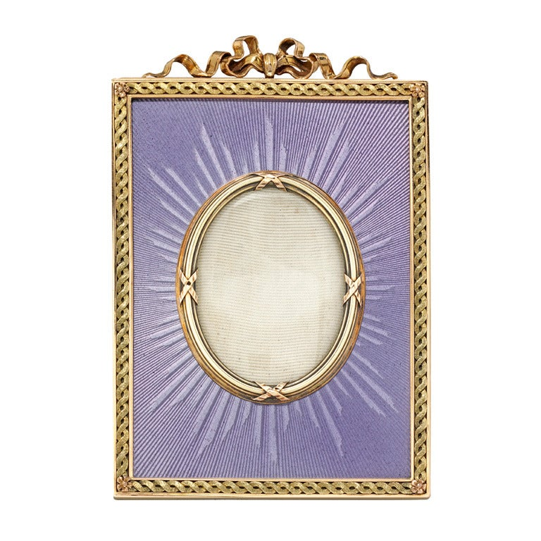 Faberge Lilac Enamel and Yellow Gold Frame For Sale at 1stdibs