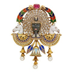 Egyptian Revival Pharaoh Diamond Pearl Ruby Enamel Gold Brooch by Carlo Giuliano