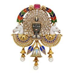 Egyptian Revival Pharaoh Diamond Pearl Ruby Enamel Gold Brooch by Carlo Giuliano