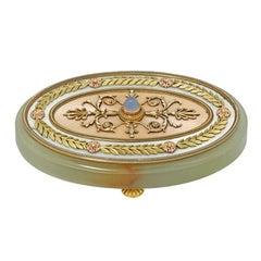 Edwardian Faberge Chalcedony Enamel Gold Bell Push