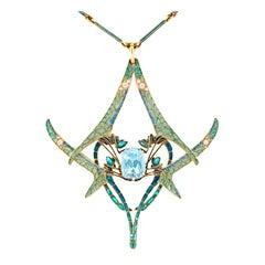 Rene Lalique Aquamarine Dragonfly Pendant