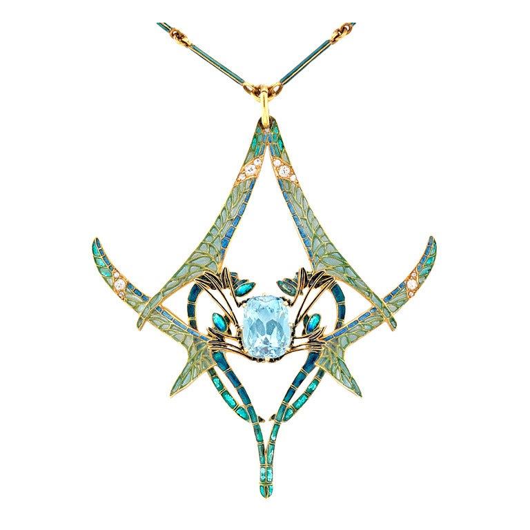 Rene Lalique Aquamarine Dragonfly Pendant For Sale
