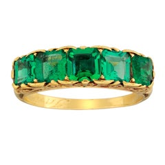 Victorian Emerald Five Stone Carved Gold Half Hoop Ring