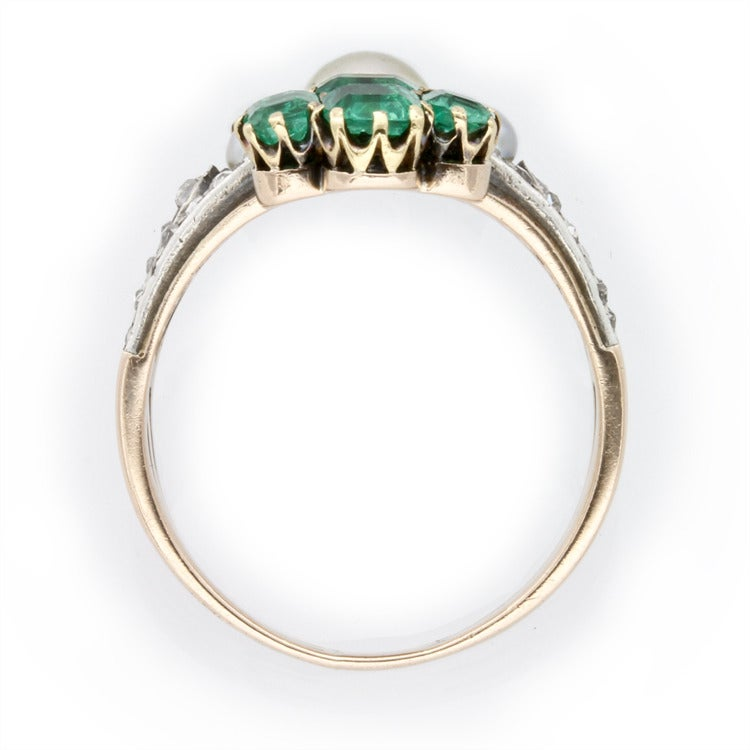 Women's Victorian Pearl Emerald Ruby Diamond Ring For Sale