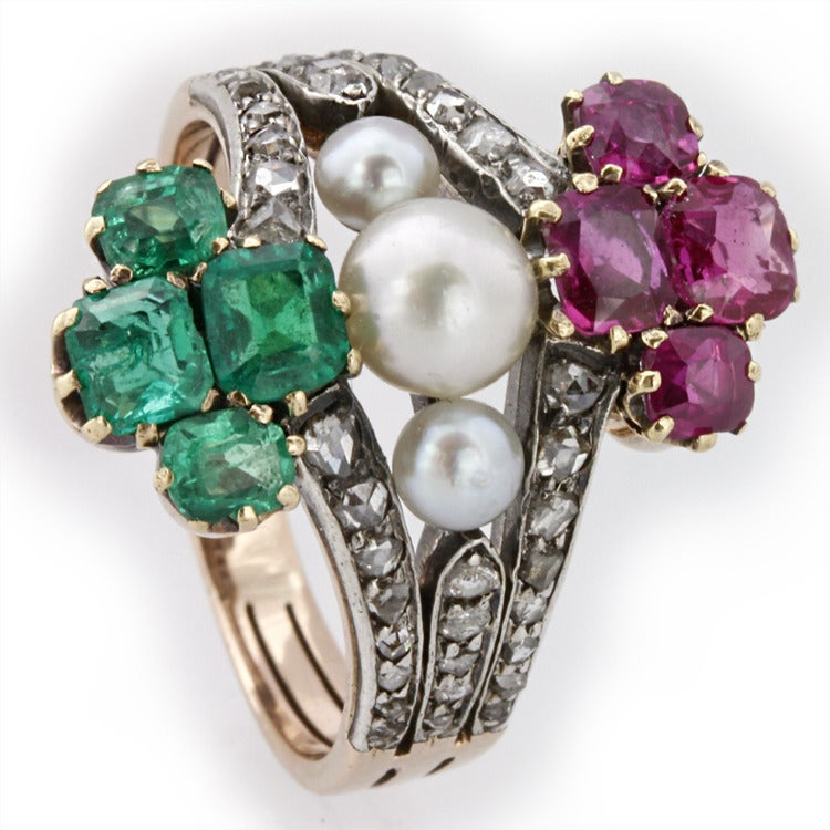 Victorian Pearl Emerald Ruby Diamond Ring For Sale 1