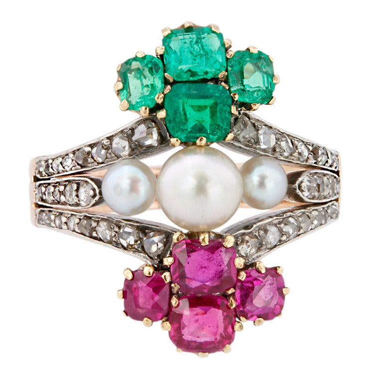Victorian Pearl Emerald Ruby Diamond Ring For Sale