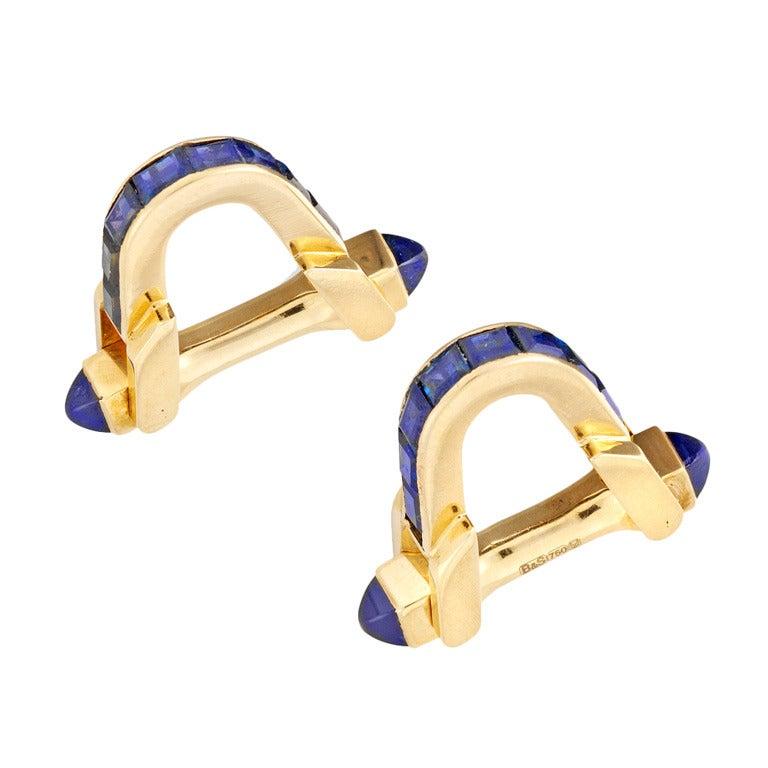 1930s Boucheron Sapphire Gold Stirrup Cufflinks