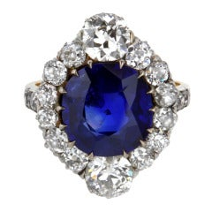 Edwardian 4.84 Carat Fine Burmese Sapphire Diamond Gold Cluster Ring