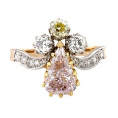 Belle Epoque Pink White Yellow Diamond Ring