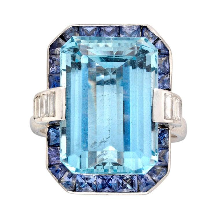 13.05 Carat Aquamarine Sapphire Diamond Platinum Cluster Ring For Sale