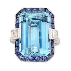 13.05 Carat Aquamarine Sapphire Diamond Platinum Cluster Ring