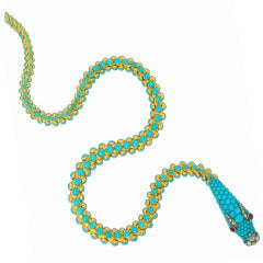 A Fine Victorian Turquoise Snake Necklace