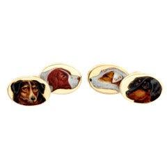 Victorian Enamel Gold Dog Portraits Cufflinks